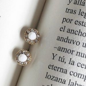 JEWELED WHITE AND GOLD DIAMOND HALO STUDS